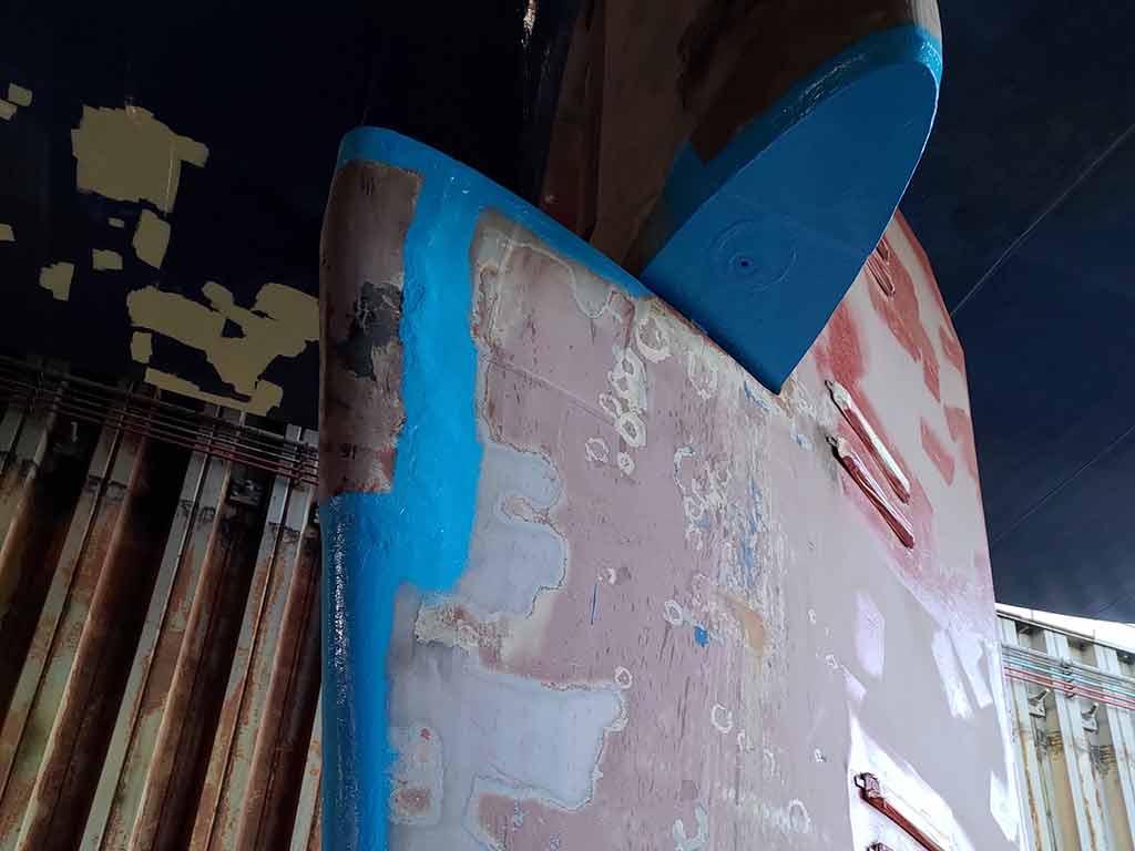 Rudder erosion damage coated